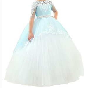 White and blue princess party dress size 10/12